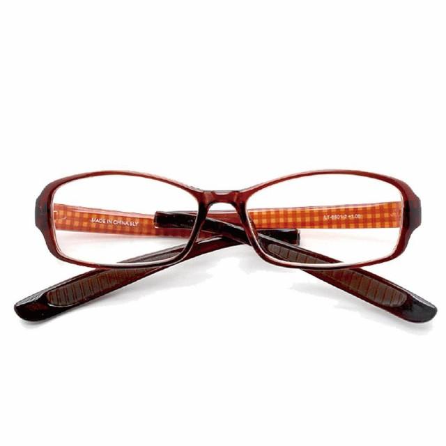 折りたたみ首掛け老眼鏡 スクエア ブラウンチェック LT-6501-2 度数(+3.00)