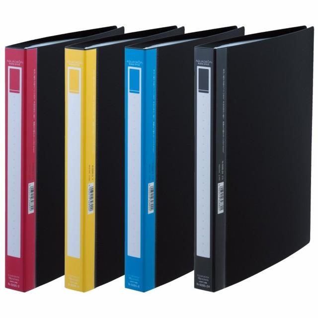 (まとめ買い)リヒトラブ AQUA DROPs BLACK STYLE クリヤーブック ポケット交換タイプ 15ポケット A4S 赤 N-5095-3 〔5冊セット〕