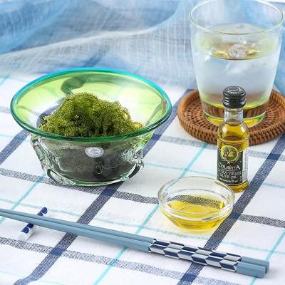 沖縄の太陽と海を器と共に感じて食す。 「ぷちぷち海ぶどう」を琉球ガラスで食す贈り物