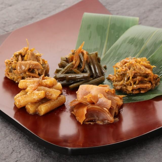 お惣菜詰め合わせ〔のんべえ、めし喰らい、薄切り生姜の佃煮、きゃらぶき生姜、里ごぼう梅肉和え〕