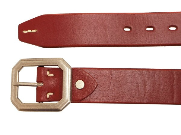SALT&SUGAR メンズ レザーベルト KI-1160 八角形尾錠 40mm幅 4mm厚 牛革製 ソルト・アンド・シュガー