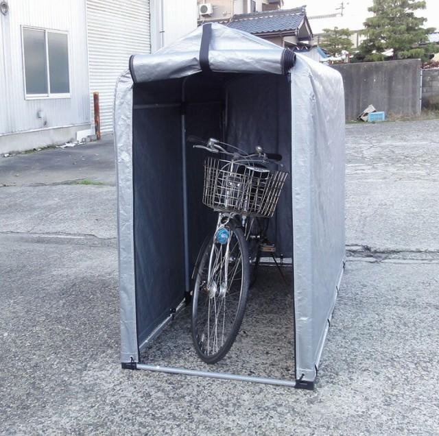ビーカム スチールフレーム サイクルハウス 2S型 1~2台用 バイク 自転車 駐輪場 屋根付き マジックテープ付き 簡単(代引不可)【送料無料
