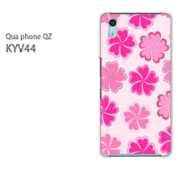 Qua Phone QZ KYV44 ケース ハードカバー プリント ゆうパケ送料無料 クリア [花(ピンク)/kyv44-pc-new0030]