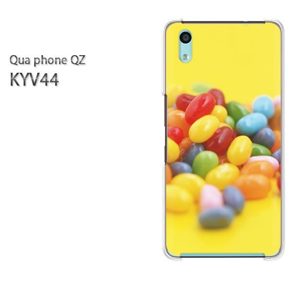 Qua Phone QZ KYV44 ケース ハードカバー プリント ゆうパケ クリア [スイーツ・ゼリー(黄・赤)/kyv44-pc-new0399]