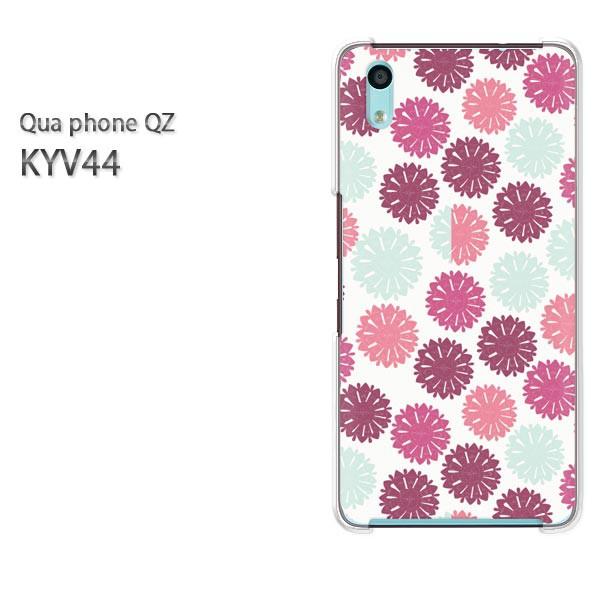 Qua Phone QZ KYV44 ケース ハードカバー プリント ゆうパケ クリア [シンプル・花(ピンク)/kyv44-pc-new1049]