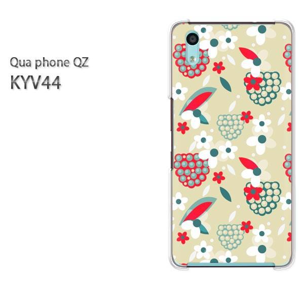 Qua Phone QZ KYV44 ケース ハードカバー プリント ゆうパケ クリア [花(ベージュ)/kyv44-pc-new1114]