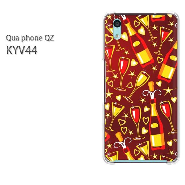 Qua Phone QZ KYV44 ケース ハードカバー プリント ゆうパケ クリア [ハート・星・ワイン(ブラウン)/kyv44-pc-new1134]