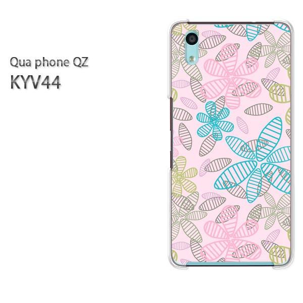 Qua Phone QZ KYV44 ケース ハードカバー プリント ゆうパケ クリア [花・シンプル(ピンク)/kyv44-pc-new1676]