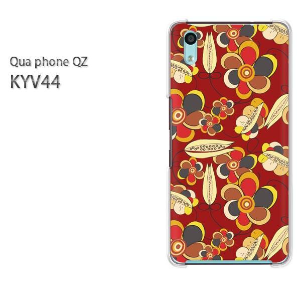 Qua Phone QZ KYV44 ケース ハードカバー プリント ゆうパケ クリア 【レトロフラワー071/kyv44-PM071】