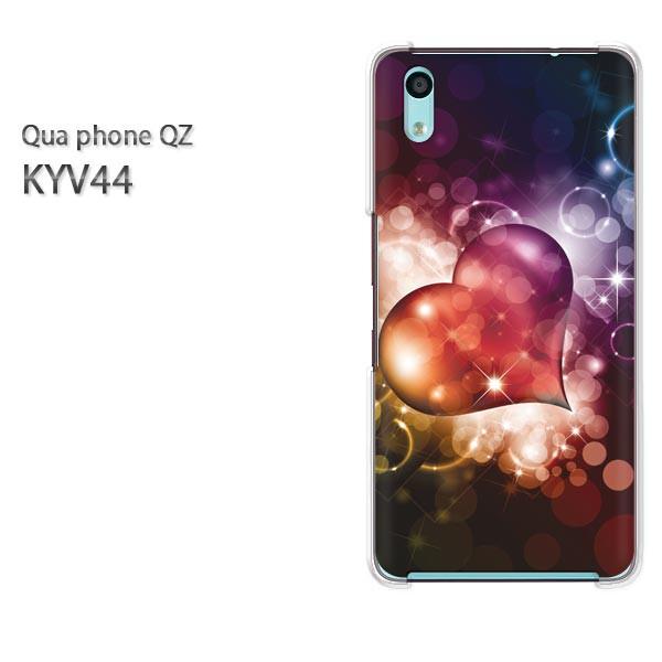 Qua Phone QZ KYV44 ケース ハードカバー プリント ゆうパケ クリア 【キラキラハート132/kyv44-PM132】