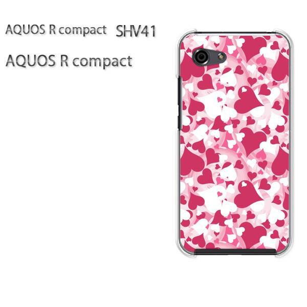 ゆうパケ スマホケース ハード AQUOS R compact SHV41 アクオス クリア ハート(ピンク)/shv41-pc-new1056]