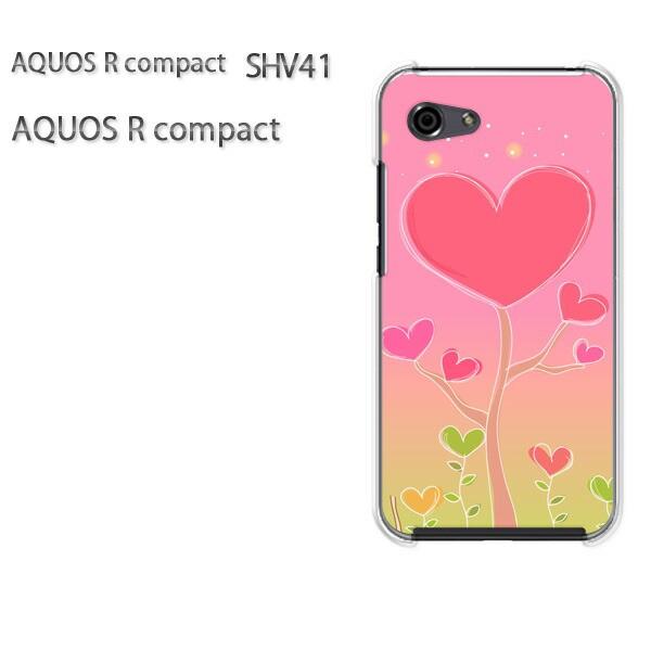 ゆうパケ スマホケース ハード AQUOS R compact SHV41 アクオス クリア ハート・星(ピンク)/shv41-pc-new1324]