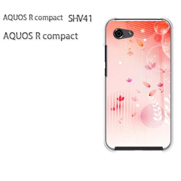 ゆうパケ スマホケース ハード AQUOS R compact SHV41 アクオス クリア 花(ピンク)/shv41-pc-new1440]