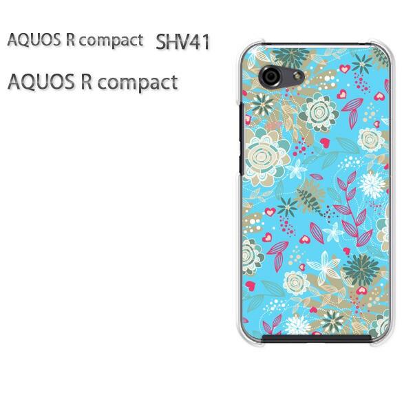 ゆうパケ スマホケース ハード AQUOS R compact SHV41 アクオス クリア 花・レトロ(ブルー)/shv41-pc-new1670]