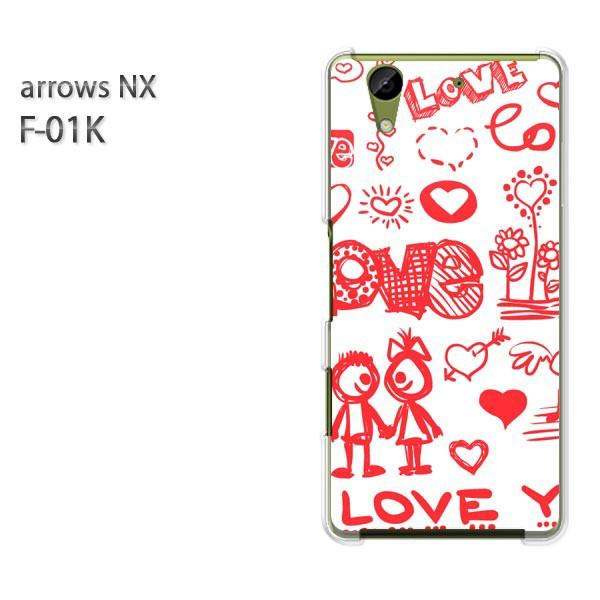 ゆうパケ スマホケース ハード arrows NX F-01Kクリア  [シンプル・LOVE(赤)/f01k-pc-ne073]
