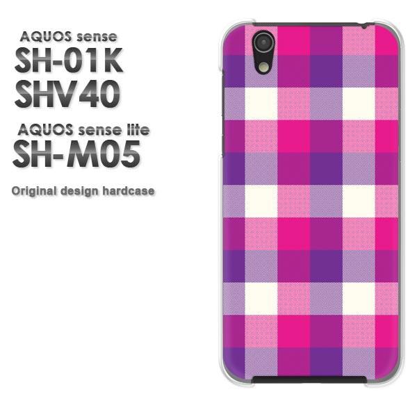 ゆうパケ スマホケース AQUOS sense SH-01K SHV40 アクオス クリア 【チェック1(ピンク)/sh01k-M846】