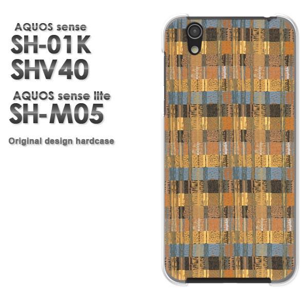 ゆうパケ スマホケース AQUOS sense SH-01K SHV40 アクオス クリア [チェック(ブラウン)/sh01k-pc-new0294]