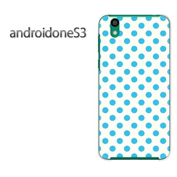 ゆうパケスマホケース ハード android One S3 クリア 【白バック・水色ドット/androidones3-M113】