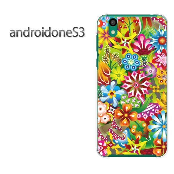 ゆうパケスマホケース ハード android One S3 クリア  [花・カラフル(ピンク)/androidones3-pc-ne178]