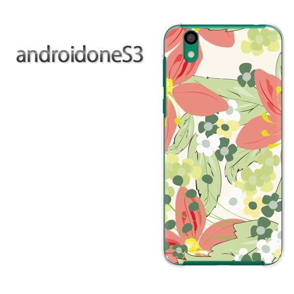 ゆうパケスマホケース ハード android One S3 クリア [花(赤・グリーン)/androidones3-pc-new0048]