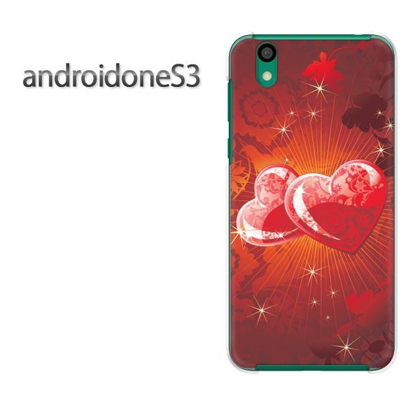 ゆうパケスマホケース ハード android One S3 クリア [ハート・キラキラ(赤)/androidones3-pc-new0614]