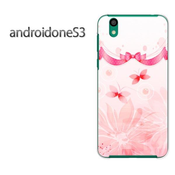 ゆうパケスマホケース ハード android One S3 クリア [花・蝶・リボン(ピンク)/androidones3-pc-new1441]