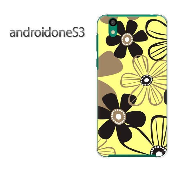 ゆうパケスマホケース ハード android One S3 クリア [花・シンプル(黄)/androidones3-pc-new1735]