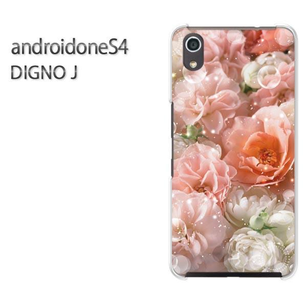 ゆうパケスマホケース ハード android One S4 クリア  [花・バラ(ピンク)/androidones4-pc-ne236]