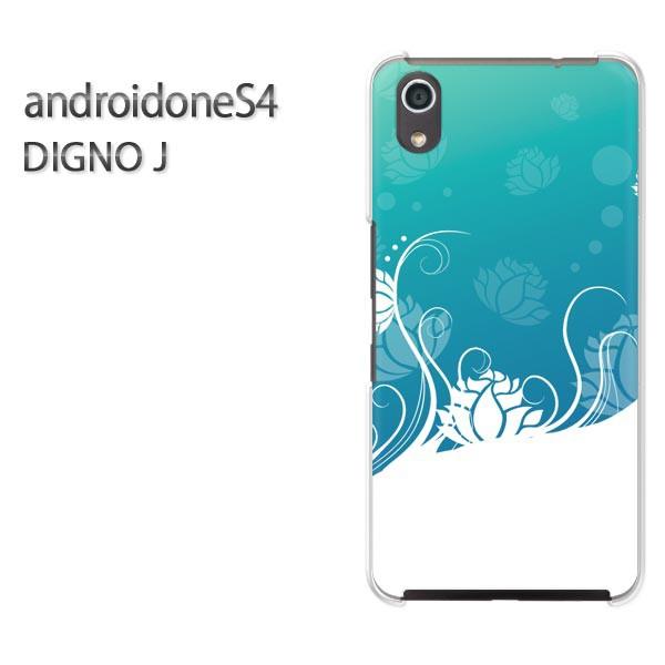 ゆうパケスマホケース ハード android One S4 クリア [花(ブルー)/androidones4-pc-new0732]