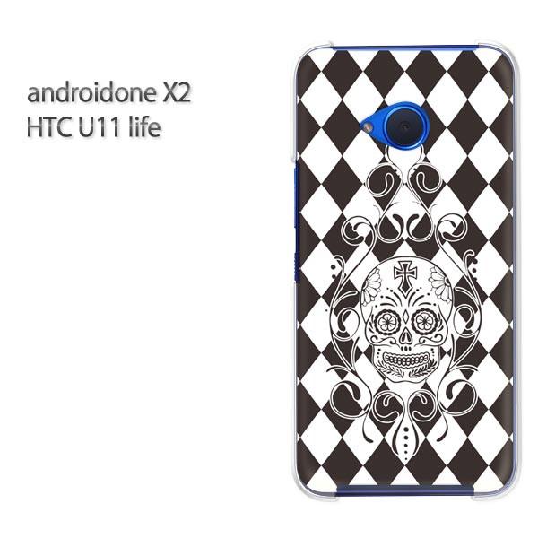 ゆうパケ スマホケース ハード android One X2 クリア  [ドクロ・メキシカンスカル(黒)/androidonex2-pc-ne399]