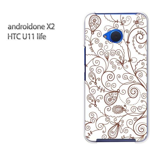 ゆうパケ スマホケース ハード android One X2 クリア [花(ブラウン)/androidonex2-pc-new0074]