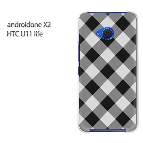 ゆうパケ スマホケース ハード android One X2 クリア [チェック(黒)/androidonex2-pc-new0890]