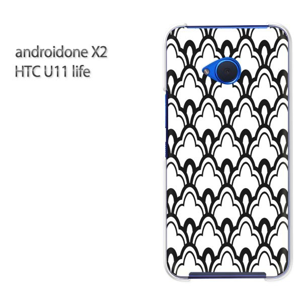 ゆうパケ スマホケース ハード android One X2 クリア [和柄(黒)/androidonex2-pc-new1267]