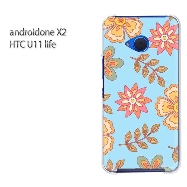 ゆうパケ スマホケース ハード android One X2 クリア [花・レトロ(ブルー)/androidonex2-pc-new1714]