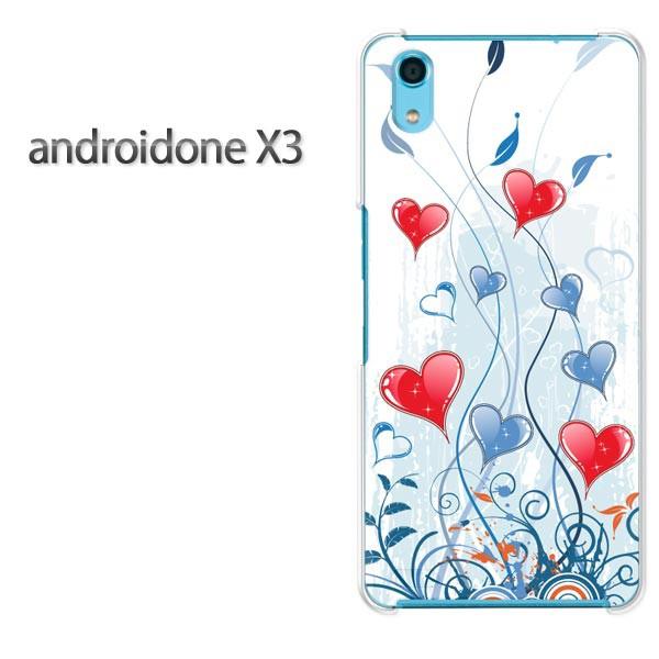 ゆうパケスマホケース ハード android One X3 クリア  [ハート(ブルー)/androidonex3-pc-ne080]