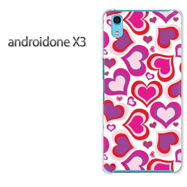 ゆうパケスマホケース ハード android One X3 クリア  [ハート(ピンク)/androidonex3-pc-ne127]