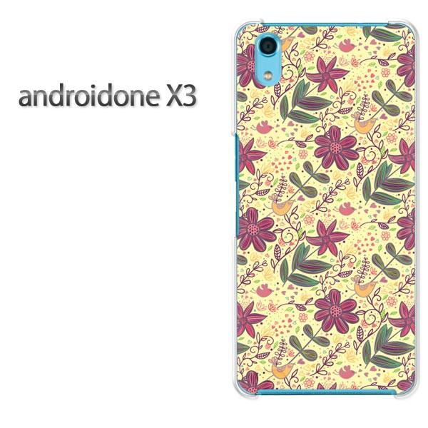 ゆうパケ送料無料スマホケース ハード android One X3 クリア [花・鳥(黄)/androidonex3-pc-new1615]