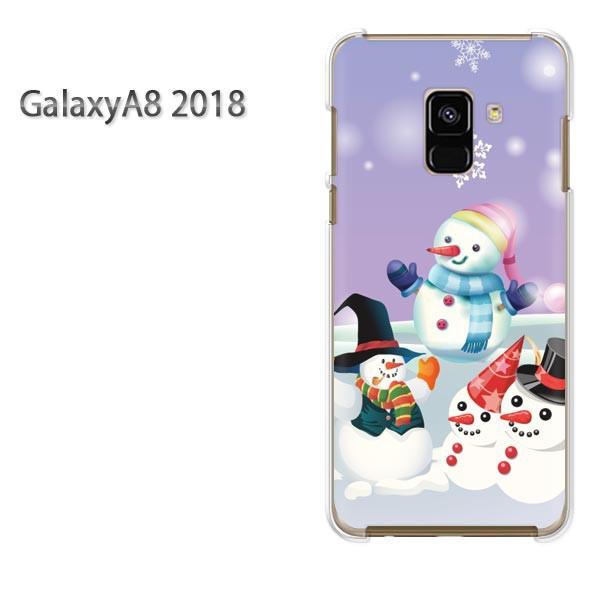 ゆうパケ スマホケース galaxya82018 クリア [冬・シンプル・雪だるま・結晶(紫)/galaxya82018-pc-new0832]