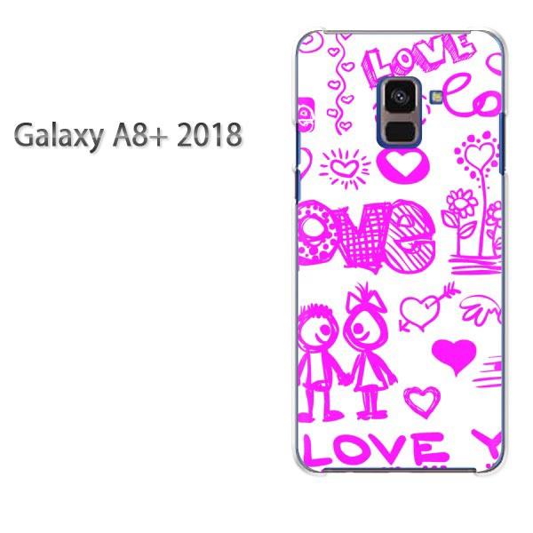 ゆうパケ スマホケース galaxya8plus クリア  [シンプル・LOVE(ピンク)/galaxya8plus-pc-ne075]