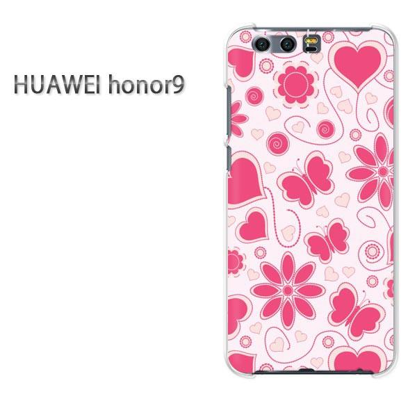 ゆうパケスマホケース ハード honor9 クリア 花・ハート(ピンク)/honor9-pc-new0012]