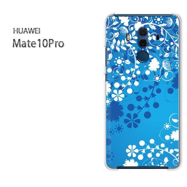 ゆうパケスマホケース ハード Mate10Pro クリア 花(ブルー)/mate10pro-pc-new1411]