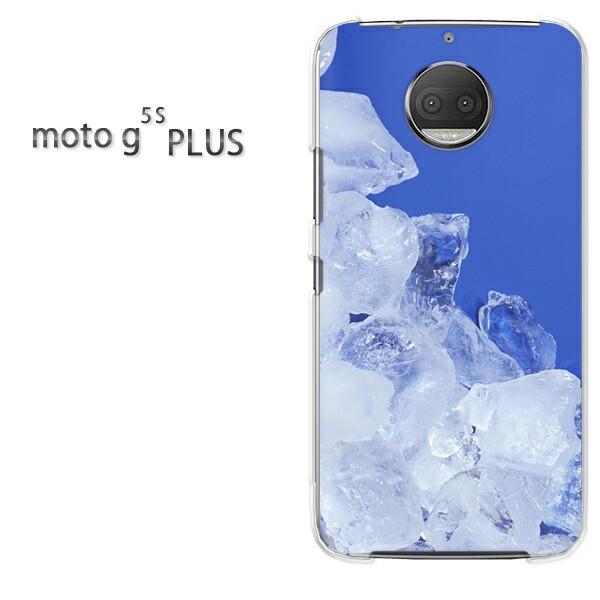 ゆうパケスマホケース ハード motog5sPLUS クリア 氷・シンプル(ブルー)/motog5splus-pc-new0170]
