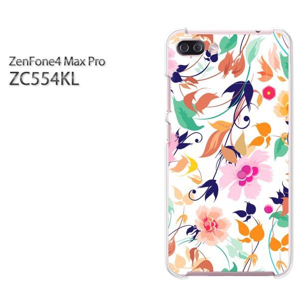 ゆうパケスマホケース ハード ZenFone4 MAX Pro ZC554KL クリア 花(ピンク)/zc554kl-pc-new0026]