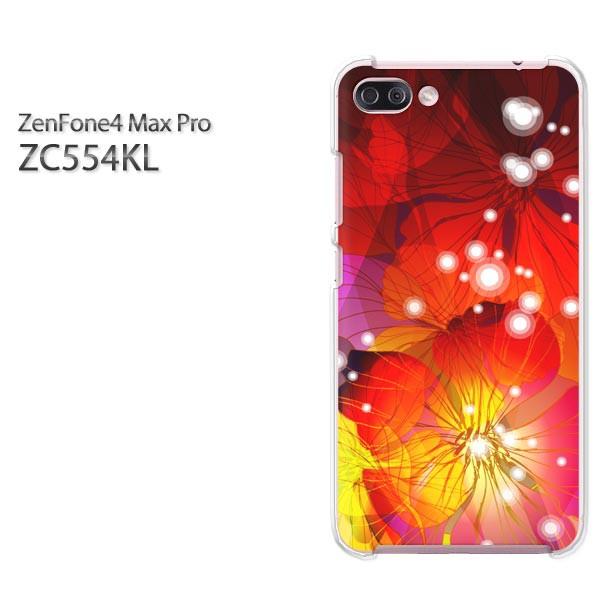 ゆうパケスマホケース ハード ZenFone4 MAX Pro ZC554KL クリア 花・キラキラ(赤)/zc554kl-pc-new1424]