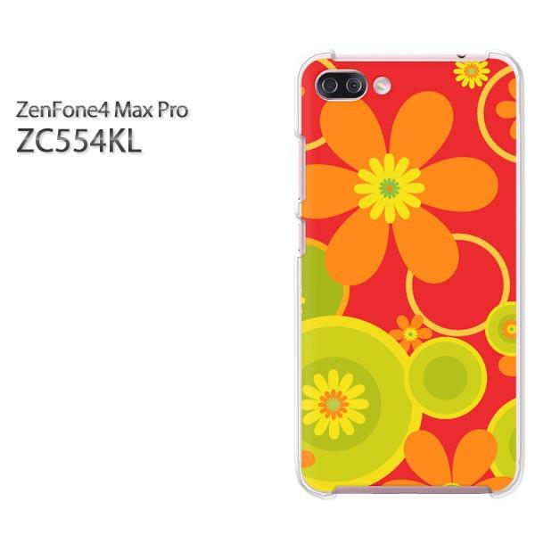 ゆうパケスマホケース ハード ZenFone4 MAX Pro ZC554KL クリア 花・レトロ(赤)/zc554kl-pc-new1708]