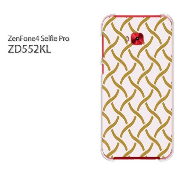 ゆうパケスマホケース ハード ZenFone4 Selfie Pro ZD552KL クリア 和柄(ベージュ)/zd552kl-pc-new1235]