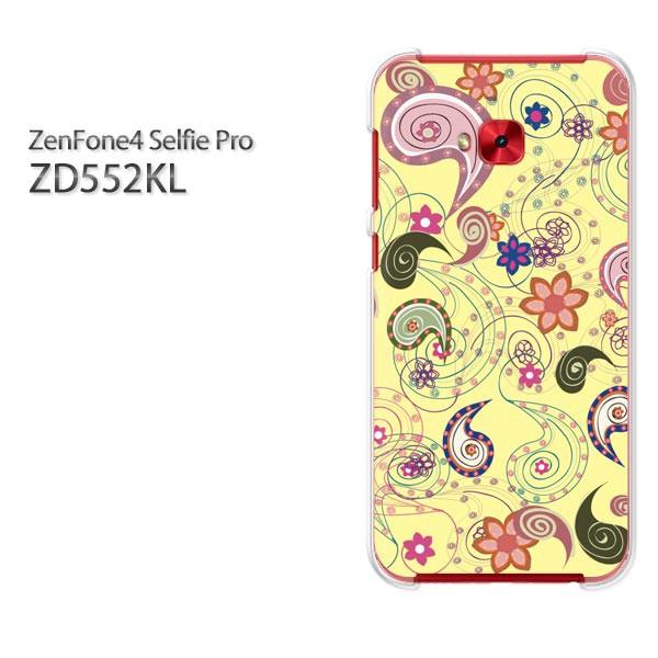 ゆうパケスマホケース ハード ZenFone4 Selfie Pro ZD552KL クリア 花・ペーズリー(黄)/zd552kl-pc-new1618]