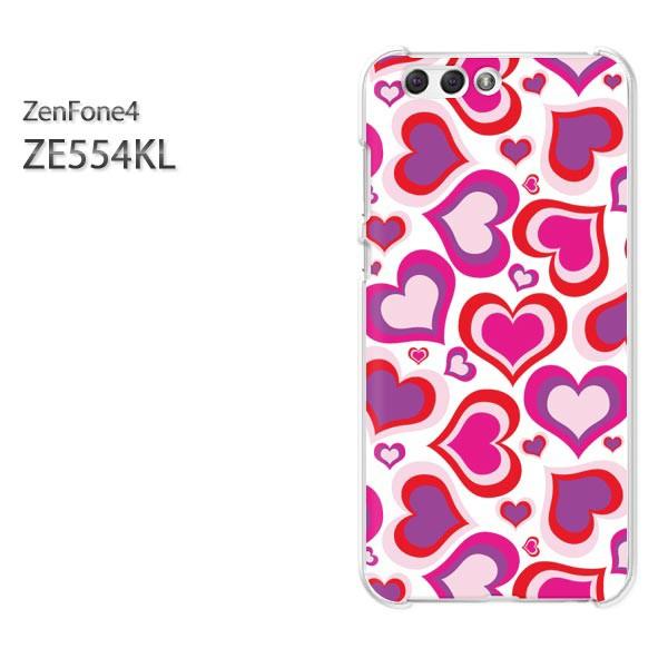 ゆうパケスマホケース ハード ZenFone4 ZE554KL クリア  ハート(ピンク)/ze554kl-pc-ne127]