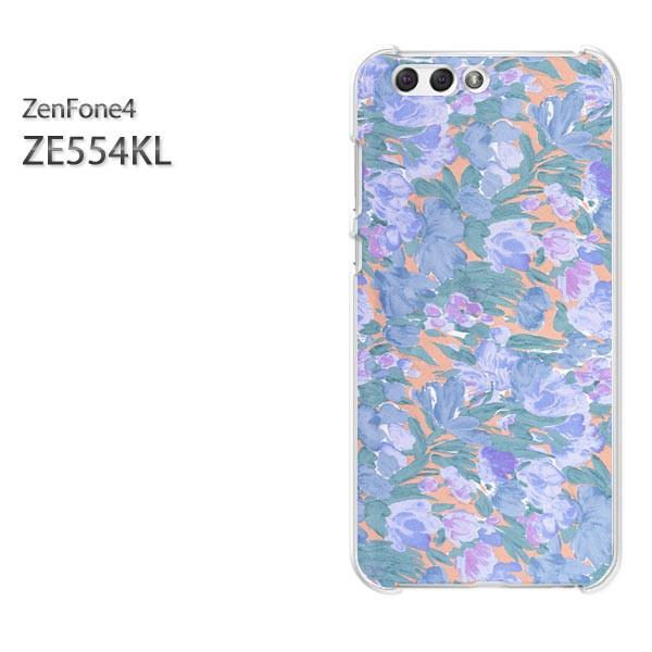 ゆうパケスマホケース ハード ZenFone4 ZE554KL クリア 花(ブルー)/ze554kl-pc-new0213]