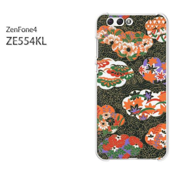 ゆうパケスマホケース ハード ZenFone4 ZE554KL クリア 和柄(黒)/ze554kl-pc-new1867]